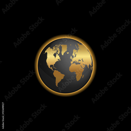 Black And Gold World Map Globe Illustration Buy This Stock Vector