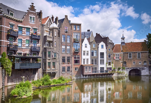 Fotobehang Rotterdam Delfshaven in Rotterdam, historic centre of Netherlands