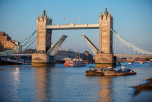 Tower Bridge Raised To Let Ship Pass Through. London
