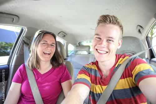 Fotografia, Obraz  Mother and son in car