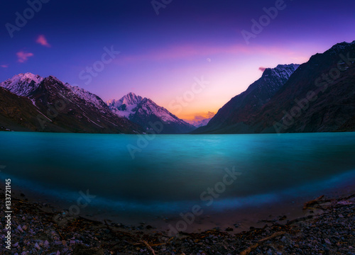 Staande foto Donkerblauw A lake at sunset in Pakistan.