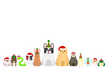 Christmas Pet Animals Border Set