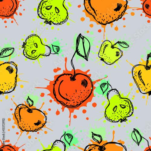 bezszwowe-wektor-wzor-recznie-rysowane-owoce-ilustracja-kolorowy-wisnia-jablko-gruszka-jagody-truskawki-z-splash
