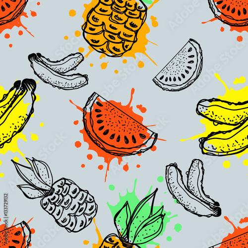 bezszwowe-wektor-wzor-reka-rysujaca-owoc-ilustracja-banan-ananas-i-arbuz-z-plusnieciem-i-kropla-na-blekitnym-tle