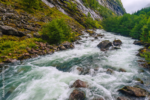Printed kitchen splashbacks River Landscape with views of the largest waterfall. The county of More og Romsdal. Norway