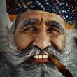 Leinwanddruck Bild - India Man Smoking a Pipe Concept