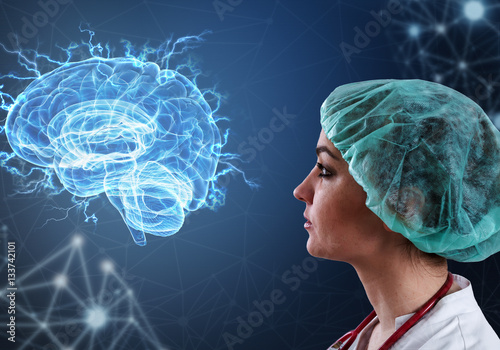 Fotografiet  Innovative technologies in science and medicine in 3D illustration of human brain
