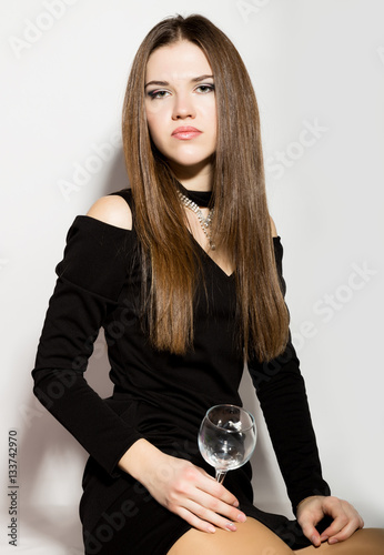 Fashion Business Beautiful Young Women In A Little Black Dress With