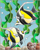 Illustration in stained glass style with a pair of Moorish idols on the background of water and algae