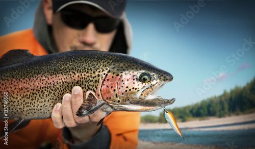 Printed kitchen splashbacks Fishing Fishing. Fisherman and trout.