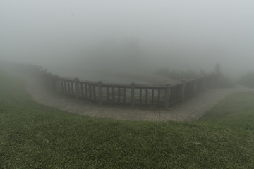 Taiwan Nature Trail in Foggy and Raining Autumn at Yangmingshan National Park in Taipei, Taiwan.