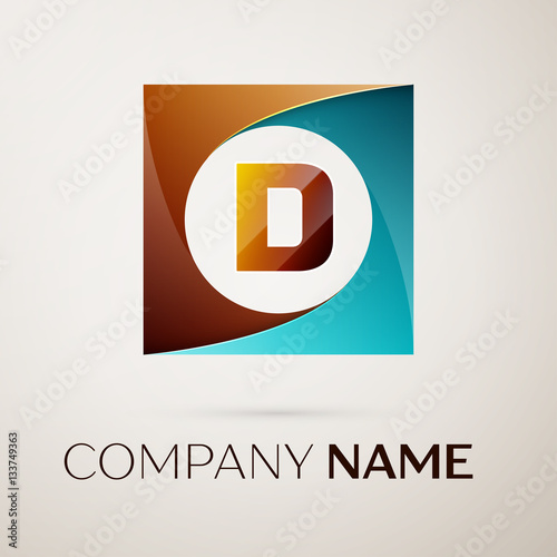 Fototapeta Letter D vector logo symbol in the colorful square on grey background. Vector template for your design obraz