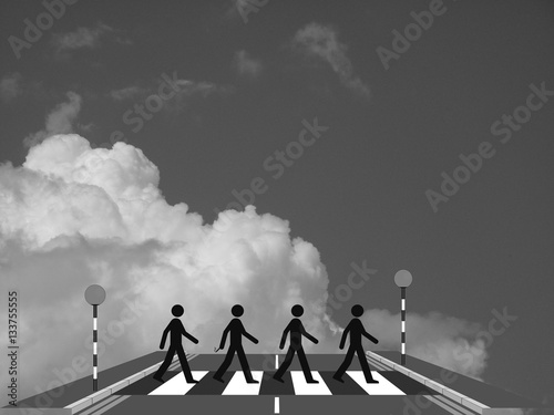 Photo  Monochrome four men on a zebra crossing