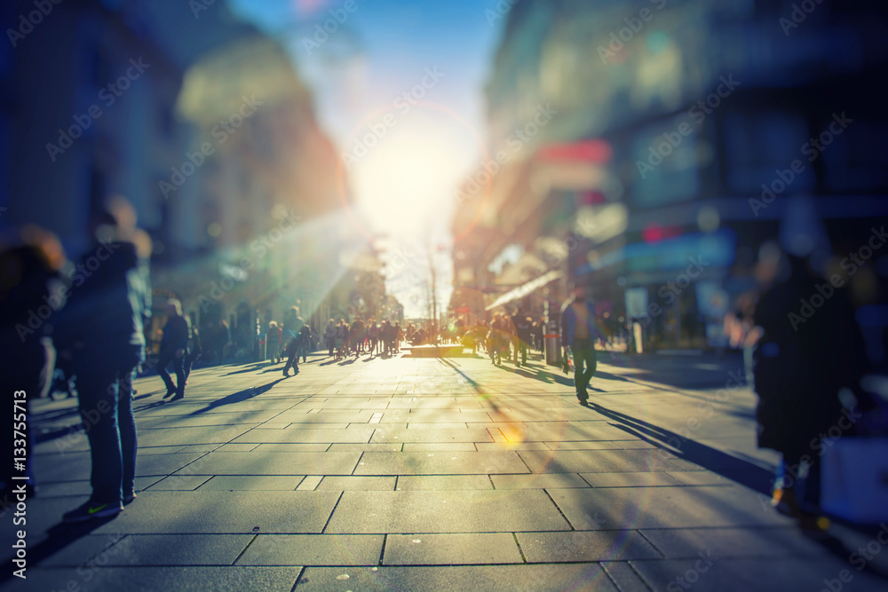Fototapety, obrazy: colorful street in city crowded with people on sunny day