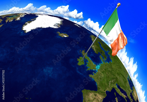 Ireland national flag marking the country location on world map. 3D ...