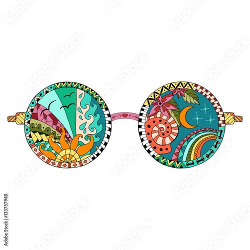 Photo  Hand drawn hippie sun glasses.