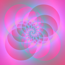 Spiral Circles In Pink And Blue / A Digital Abstract Fractal Image With A Four Circle Spiral Design In Pink And Blue.