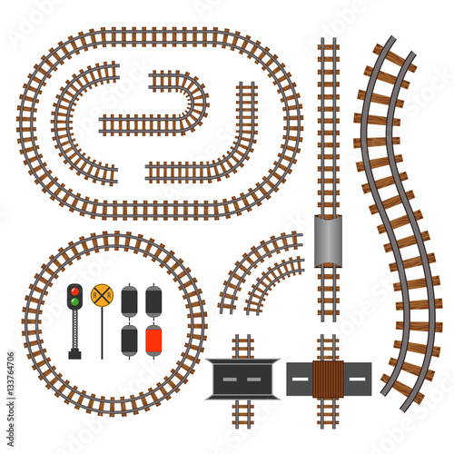 Fotografía  Vector railroad and railway tracks construction elements