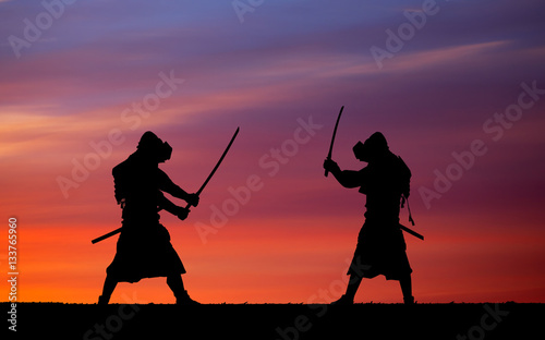Picture with two samurais and sunset sky Wallpaper Mural