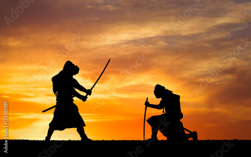 Picture with two samurais and sunset sky Canvas Print