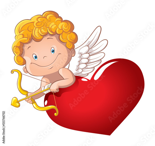 cute-playful-cupid-with-bow-and-arrow-behind-the-heart
