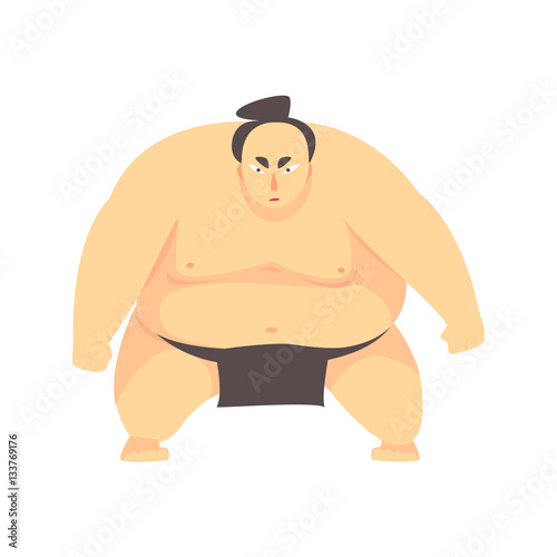 Láminas  Japanese Fat Sumo Martial Arts Fighter, Fighting Sports Professional In Traditio
