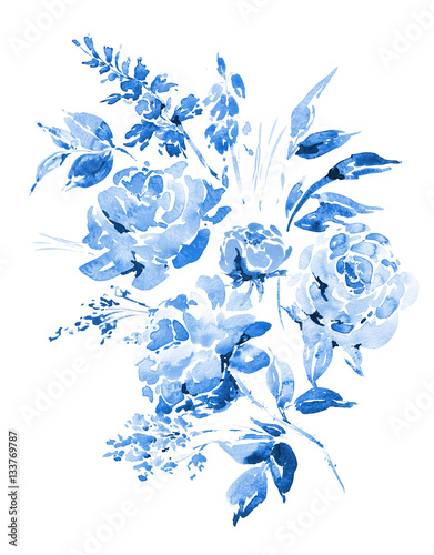 Blue watercolor roses - flowers, twigs, leaves, buds
