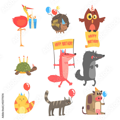 Deurstickers Uilen cartoon Funky Animals With Party Attributes At The Kids Happy Birthday Celebration Set Of Cartoon Fauna Characters