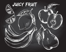 Hand Drawn Set Of Fruits - Apple, Pear, Lemon, A Bunch Of Bananas. Vector Illustration.