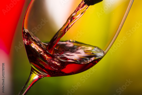 Fotografie, Obraz  glass with red wine bottle