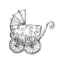 Hand Drawn Baby Stroller For Newborn Baby