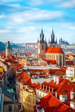High Spires Towers Of Tyn Church In Prague City