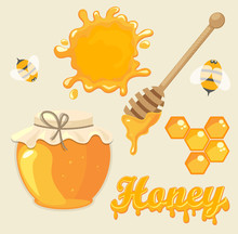 Honey, Vector Illustration.