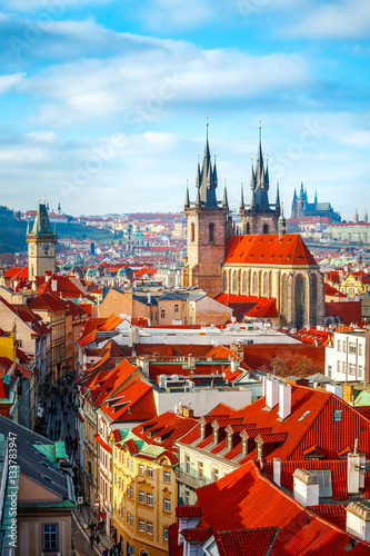 Tuinposter Praag High spires towers of Tyn church in Prague city