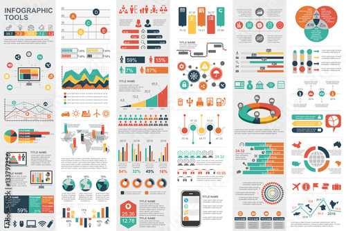 Fotografie, Tablou  Infographic elements data visualization vector