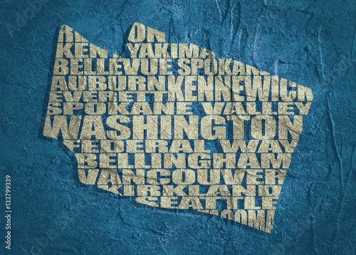Word cloud map of Washington state. Cities list collage ... on