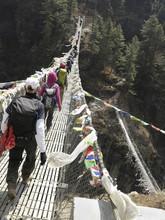 Himalayas - Suspension Bridges With Trekkers