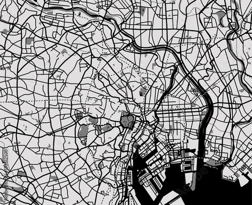 Photo Black and white scheme of the Tokyo, Japan. City Plan of Tokyo