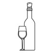 wine bottle and cup kitchen tool isolated icon vector illustration design