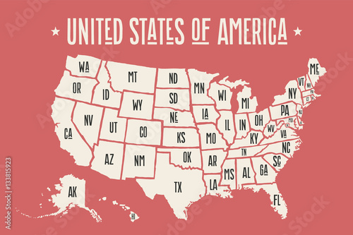 Photo  Poster map of United States of America with state names