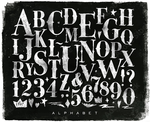 Fotografie, Obraz  Vintage gothic alphabet chalk