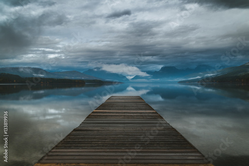 Lake dock on an overcast day.
