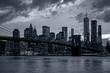 Panorama new york city at night in blue tonality