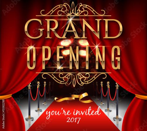 Fototapeta Grand Opening Invitation Card With Red Theater Curtains And Velvet Carpet Elegant Inscription Vector Illustration