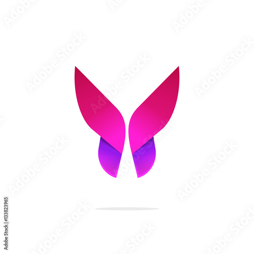 purple butterfly logo template with shadow on wings abstract red