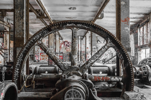 industrial machinery in abandoned factory