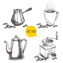 Hand Drawn Coffee Set With Coffee Beans. Sketch Style. Isolated On White Background. Coffee Mill, Turkish Coffee Pot Cezve, Vintage Coffee Pot And Mug Of Coffee.