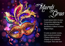 Mardi Gras Mask, Colorful Poster, Template, Flyer With Place For