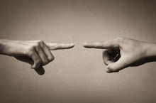 Fingers Pointing At Each Other. People Arguing And Fighting Concept.