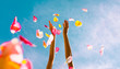 canvas print picture - Hand throwing rose pedals. Party and celebration concept.
